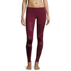 Alo Yoga Moto-Style Stretch Sport Leggings Purple (Dp Plum/Dp Plum) ($110) ❤ liked on Polyvore featuring activewear, activewear pants, sports activewear and alo yoga