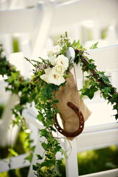 "Horse shoe decor for aisle or ""rain day"" indoor arch....bringing good luck to your wedding!"