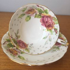 """Paragon """"Golden Emblem"""" Wide Mouthed Teacup and Saucer, Pink Rose Tea Cup and Saucer, Fine Bone China, Collectibles, 1940s by CupandOwl on Etsy"""