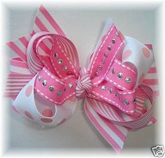 Pink Strawberry Tutu Hair Bow Mini Pink Hair Bow Set with ladybugs attached to 1 inch french clips. Made from one pink polks dot and one or. How To Make Hair, How To Make Bows, Ribbon Hair Bows, Ribbon Barrettes, Ribbon Flower, Fabric Flowers, Hair Bow Tutorial, Headband Tutorial, Flower Tutorial