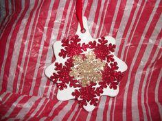 ceramic star w/glitter snowflakes