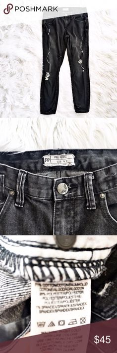 "Free People distressed black skinny jeans Black factory distressed skinny jeans from Free People, size 28 or 6. Excellent condition. Flat measurements are waist 15.5"", hips 18.5"", front rise 8"", inseam 28"", length 37"". Free People Jeans Skinny"