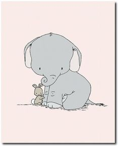 Elephant Nursery Art Elephant and Bunny от SweetMelodyDesigns