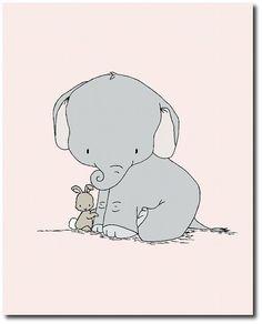 Elephant Nursery Art Elephant and Bunny от SweetMelodyDesigns