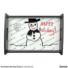 Snowman Serving Tray #Snowman #Snow #Snowflake #Winter #Holiday #Christmas #Fashion #Home #Tray #ServingTray