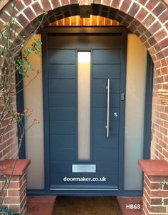 contemporary door and sidelights grey