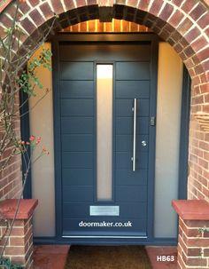 Composite front door grey diy 15 New Ideas Grey Composite Front Door, Grey Front Doors, Modern Front Door, Front Door Design, Modern Entrance, Blue Doors, Front Door Porch, Front Door Entrance, House Front Door