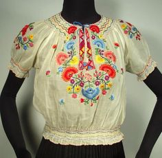 ANTIQUE Hungarian Hand-Embroidered Peasant Blouse sheer ethnic floral peasant