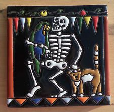 """Talavera Mexican tile 6"""" Day of the Dead hi relief Animal Lover Parrot Cat Man"""