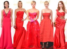 The carpet was on fire with red dresses tonight! It was one of the first major trends we noticed with celebs like Minnie Driver, Giuliana Rancic, Kaley Cuoco-Sweeting, January Jones and Christina Hendricks all embracing the color.