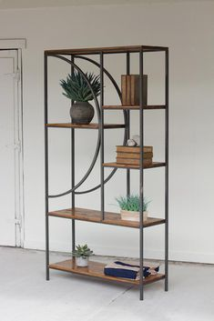 Wood and metal shelves, especially handmade shelves, are wonderful for creating stylish storage spaces. Modern shelving units in industrial style can be made with salvaged wood and metal poles… Modern Industrial Furniture, Metal Furniture, Unique Furniture, Furniture Projects, Rustic Furniture, Furniture Makeover, Vintage Furniture, Furniture Design, French Industrial