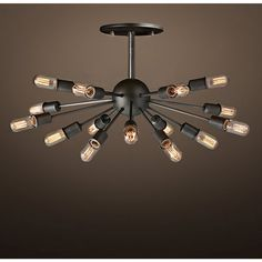 Noemi 14-light Antique 16-inch Metal Edison Chandelier with Bulbs