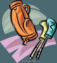 Golf Vector Clipart of a golf bag and clubs