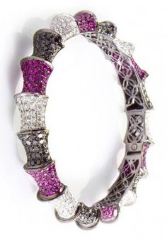 18K White Gold Multi Diamond & Ruby Bangle