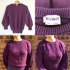 Purple Vintage Jumper Size large - approx size Very good vintage condition Wrap Cardigan, St Michael, Cable Knit, Online Price, Retro Vintage, Jumper, Pullover, Knitting, Purple