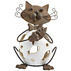Pier 1 Bobblehead Cat outdoor tealight holder