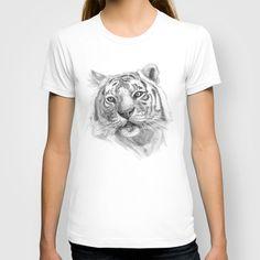 Sentimental Tiger SK118 T-shirt by S-Schukina - $22.00