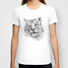 Sentimental Tiger SK118 T-shirt by S-Schukina - $22.00