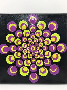 Original Mandala Painting on Canvas, Dotilism, Dot Painting, Aboriginal Art, Henna Meditation Art, Healing/Calming, Hand Painted Acrylic paint on canvas, sprayed multiple times with high gloss sealer to protect paint and aging. Colors are: purple, chartreuse Background Color: Black