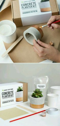 With this kit I can cast my own personalized concrete planter, with a luxe copper painted design. The kit contains the biodegradable pot molds, concrete mix, st Diy Concrete Planters, Concrete Crafts, Concrete Projects, Recycled Planters, Cement Garden, Garden Planters, Diy Projects, Beton Design, Concrete Design