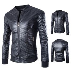 Gender: Men Outerwear Type: Leather & Suede Clothing Length: Regular Cuff Style: Conventional Closure Type: Zipper Collar: V-Neck Sleeve Length: Full Color Style: Solid Decoration: Criss-Cross Pattern