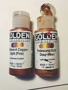 Golden Fluid Acrylic Paint These paints are extra smooth and easy to work with. I especially love the Iridescent Gold Deep (Fine). It's a brilliant gold color. This brand makes just about every shade of metallic paint you could ever want! I use this paint when I want to create tiny details, or a smooth finish in a clean way.