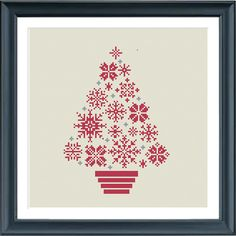 cross stitch christmas tree snowflakes modern cross par Happinesst