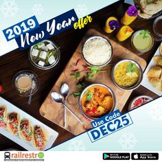 Order delicious food in train journey on the go and get food delivered on seat. Jain, Veg, Non-veg food options available. Book Food on train now! Veg Thali, Jain Recipes, Food Coupons, Grab Food, New Year Offers, Order Food Online, Tasty, Yummy Food, Train Journey