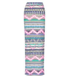 Pink and Purple Aztec Zig Zag Maxi Tube Skirt