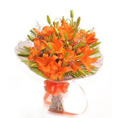 This Stunning Bouquet Is A Brilliant Splash Of Colour And Light To Brighten Their Day An Arrangement Dazzling 6 Orange Asiatic Lilies Wrapped In