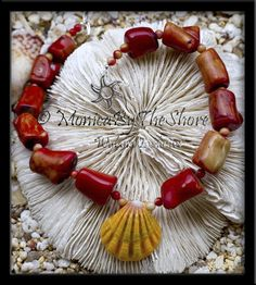 Red Coral & Hawaiian Sunrise Shell Choker Necklace, elegant statement piece, available exclusively at Wyland Gallery Waikiki, Hawaii