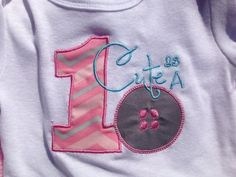 First Birthday Cute as a Button Onesie by CCEmbroideryBoutique