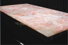 Rose Quartz table top.  Repinned by Lapicida.com natural stone.
