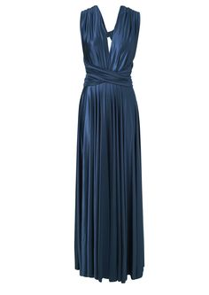 Butter by Nadia Silk Gown in Navy