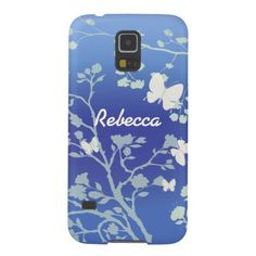 Modern design Samsung Galaxy S5 case in blues and creams of butterflies fluttering around trees leaves and bushes in the summer evenings. Fully customizable with the name of your choice