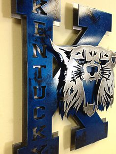Officially licensed, custom made, University of Kentucky Vintage style, power K logo. This is the perfect addition for any cat fans home or office. Kentucky Basketball, Kentucky Wildcats, College Basketball, Duke Basketball, University Of Kentucky Man Cave Ideas, Basketball Players, Wildcats Basketball, Kentucky Derby, Soccer