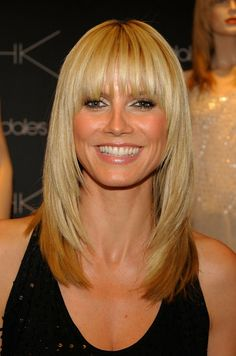 Heidi Klum: Your Hairstyles in Transition- Heidi Klum's Hairstyles A phenomenon . - Heidi Klum: Your Hairstyles in Transition- Heidi Klum's Hairstyles A phenomenon similar to Jennif - Oval Face Hairstyles, 2015 Hairstyles, Straight Hairstyles, Cool Hairstyles, Long Hairstyles With Bangs, Hairstyles Haircuts, Hairstyle Ideas, Bob Hairstyle, Hair Ideas