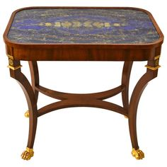 An unusual Lapis Lazuli and Mahogany center table, circa 1820. Possibly Russian.