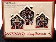 This is my version of the card shown on page 4 of the 2016 SU Holiday catty.   Cut out the houses from one of the sheets in Candy Cane Lane DSP.  Sentiment comes from Star of Light set on page 9.  I used some white Marvy Liquid Applique and glitter for the rooftops.  Apply the liquid applique in a uneven layer, shake on glitter, then use the heat gun on a low setting which will make the applique puff up a bit.  Allow to sit and harden up before mailing.