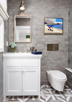 Gray subway tile in boys bathroom by Sonoma Tilemakers in Stellar Quicksilver 3 x 6