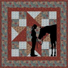 Best Friends Cowgirl Wallhanging PDF Pattern by madcreekdesigns Horse Quilt, Horse Fabric, Western Quilts, Barn Quilts, Quilt Baby, Small Quilts, Mini Quilts, Cowboy Quilt, Miniature Quilts