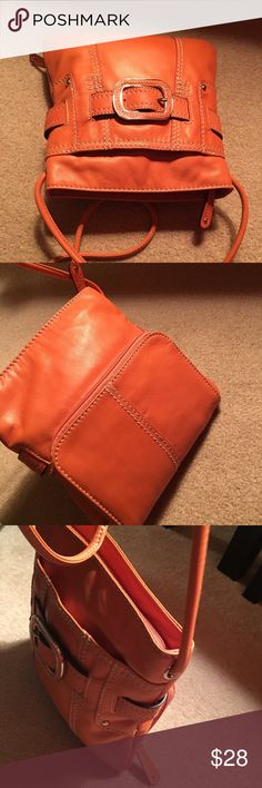 Clark Bright Orange Leather Buckled Crossbody Excellent Condition. Measures about 10 inches across. Soft Leather Clarks Bags Crossbody Bags