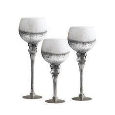 Crystal Clear Bentley White, Silver, and Gold Glass Candleholder Set (Bentley Silver Set of 2 Candle Holders) Silver Candle Holders, Hurricane Candle Holders, Glass Candle Holders, Hurricane Glass, Glass Candlesticks, Shades Of Gold, Gold Glass, A Table, Wine Glass