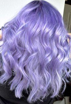 59 Lovely Lavender Hair Color Shades & Dye Tips - Glowsly - winter hair color Pastel Purple Hair, Lavender Hair Colors, Hair Color Purple, Hair Dye Colors, Hair Color Shades, Cool Hair Color, Blue Hair, Light Purple Hair Dye, Wavy Hair