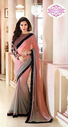 Buy Desirable Grey Shaded Chiffon Saree For Party And Designer Online Shop Indian Designer Sarees, Ethnic Wear Designer, Indian Sarees, Pakistani, Chiffon Saree, Bollywood Saree, Bollywood Fashion, Cheongsam, Hanfu