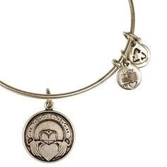 Alex and Ani Claddagh Expandable Wire Bangle Russian Silver