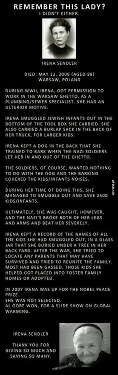 The Amazing Irena Sendler -- she is perhaps a little known name, but she saved the lives of approx. 2500 Jewish children during the Nazi Holocaust. (Faith In Humanity Restored) Irena Sendler, I Look To You, Just Dream, Random Stuff, Cool Stuff, Good People, Amazing People, Inspiring People, Amazing Women