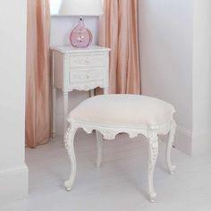 Provencal White Dressing Stool | Bedroom Stool