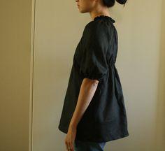 BLACK LINEN TOP . shirt. blouse. womens clothing. maternity. handmade by pamelatang. 128.00, via Etsy.