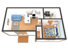 What does a Granny Annexe Cost? Tiny House Layout, House Layouts, One Bedroom House, Home Bedroom, Cottage House Plans, Cottage Homes, House Construction Plan, Back Garden Design, Sims House Plans
